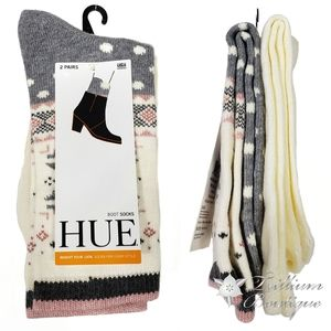 HUE Women's Fairisle Boot Socks 2 Pairs OSFM NWT